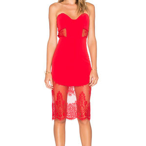 New, Never Worn NBD Red Dress w/ Lace, Size: Small